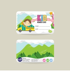 Front and back vip kids member card template vector