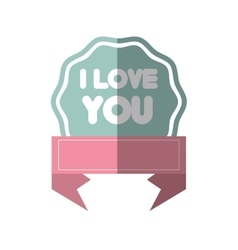 I love you greeting pink banner shadow vector