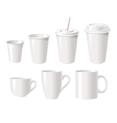 Collection of various white coffee cups vector