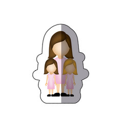Color woman her girls twins icon vector