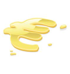 Liquid gold euro symbol sign vector