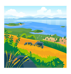 Summer landscape with sea and mountains vector