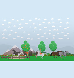 Free or wild horses in flat vector