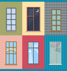 Flat exterior elements set vector