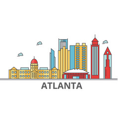 atlanta city skyline buildings streets vector image