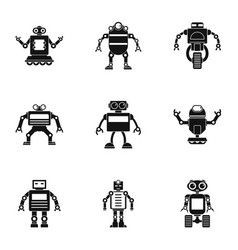 technology robot icons set simple style vector image