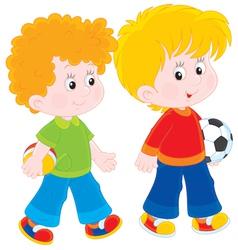 Boys walking vector image