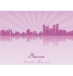 Busan skyline in purple radiant orchid vector