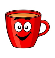 Colorful red cartoon mug of coffee vector image