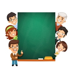 Teachers presenting empty chalkboard vector