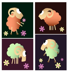 Funny sheep cartoon collection vector