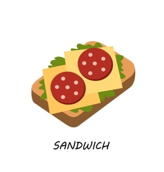 Sandwich salami and cheese vector