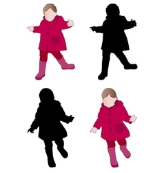 Toddler wearing raincoat vector