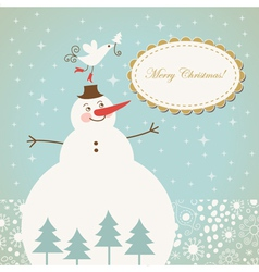 Christmas card with cute snowman with bird vector