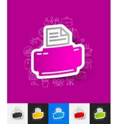 Printer paper sticker with hand drawn elements vector