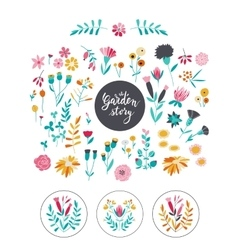 Set of hand-drawn natural design elements and vector
