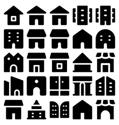Building and furniture icons 10 vector