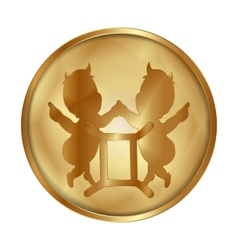 Gemini zodiac disc gold medallion vector