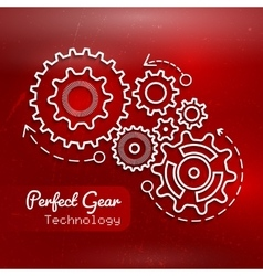 Abstract red background with gears design vector