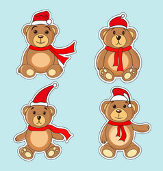 bears brown stickers in christmas hats santa claus vector image vector image