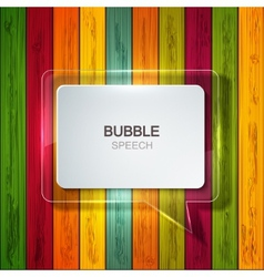 bubble speech icon on wooden background vector image vector image
