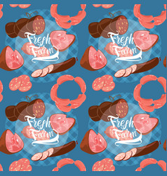 Butcher meat farming seamless pattern vector