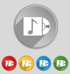 Cd player icon sign symbol on five flat buttons vector