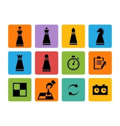 Chess pieces black icons set vector image vector image