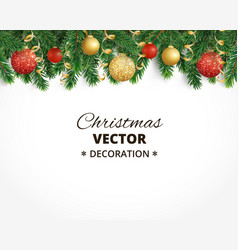 christmas background with fir tree garland vector image vector image