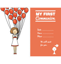 Communion invitation card for girl vector