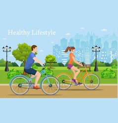 Couple riding bicycles in public park vector