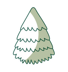 cute shadow christmas tree vector image vector image
