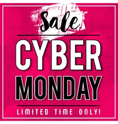 Cyber monday sale banner on pink background vector