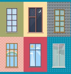 Flat exterior elements set vector
