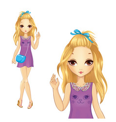 Girl In Violet Casual Dress vector image vector image