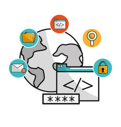 Global data service with security icons system vector