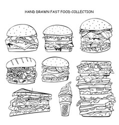 hand drawn fast food collection doodle style vector image