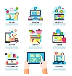 Internet Service Flat Infographics vector image vector image