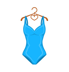 Monotone blue swimsuit for girls bathing clothes vector