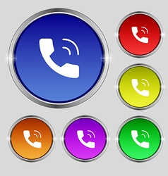 Phone icon sign round symbol on bright colourful vector