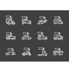 Sale of transport white line icons set vector image