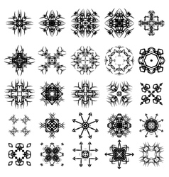 Set of different tribal rosettes tattoo vector
