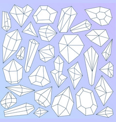 Set of linear mineral crystals on gradient blue vector