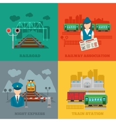 Set of railway flat concepts vector image vector image