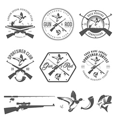 Set of vintage hunting and fishing labels vector image vector image