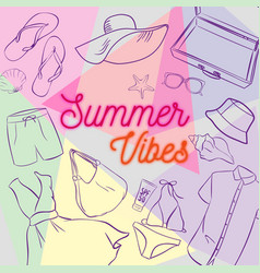 Summer clothes and accessories vector