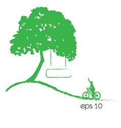 tree an bicycle over white background vector image vector image