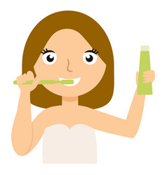 young caucasian woman brushing her teeth vector image vector image