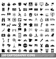 100 cartography icons set simple style vector