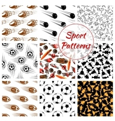 Sport balls items seamless patterns set vector